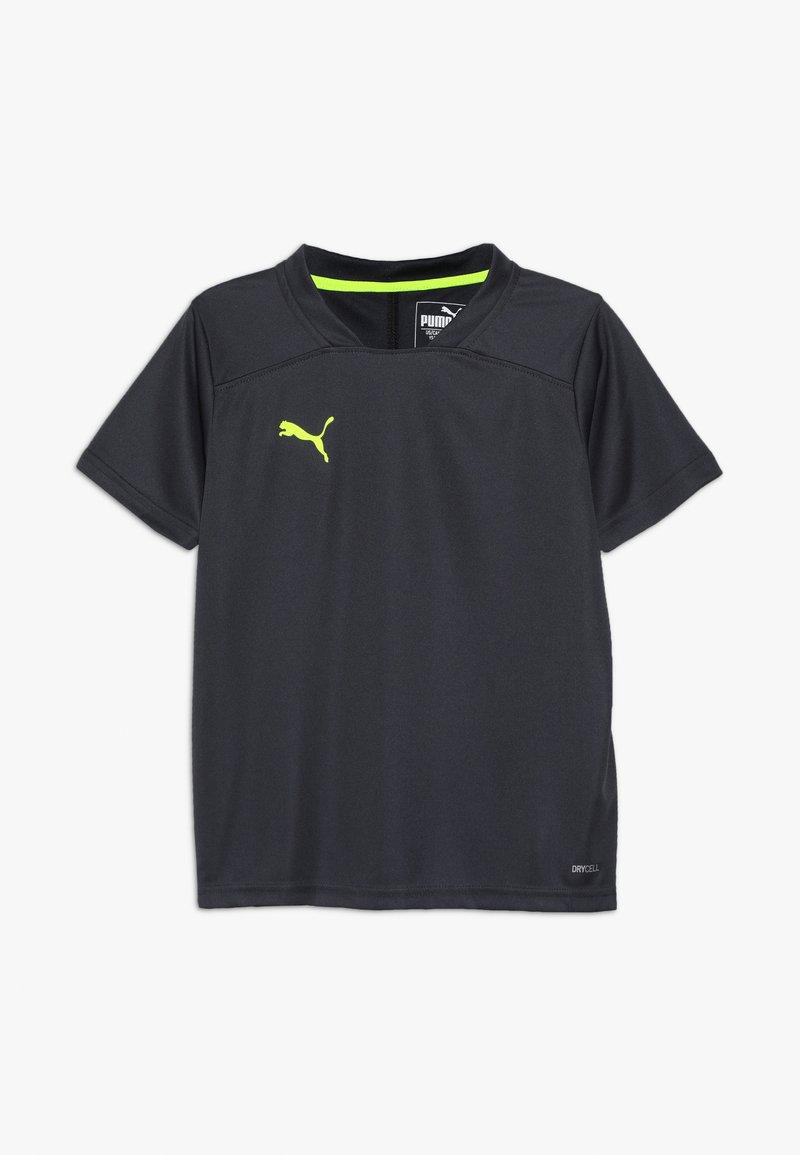 Puma - T-shirt z nadrukiem - ebony/yellow alert