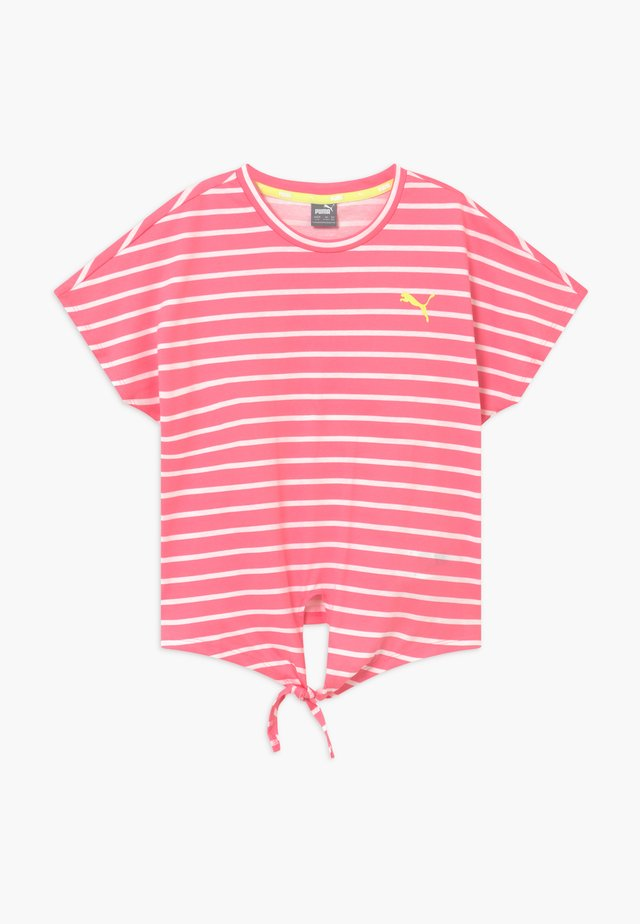 ALPHA STRIPED TEE - Print T-shirt - bubblegum