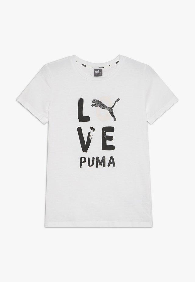 ALPHA TEE G - Camiseta estampada - puma white/puma black