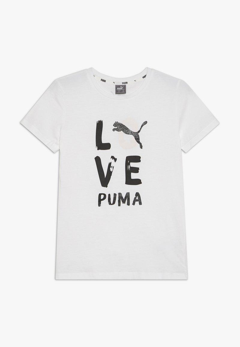 Puma - ALPHA TEE G - T-shirt imprimé - puma white/puma black