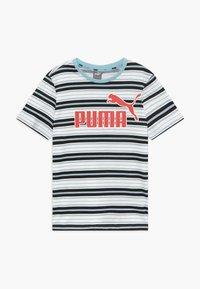 Puma - STRIPE LOGO TEE - T-shirt imprimé - aquamarine - 0