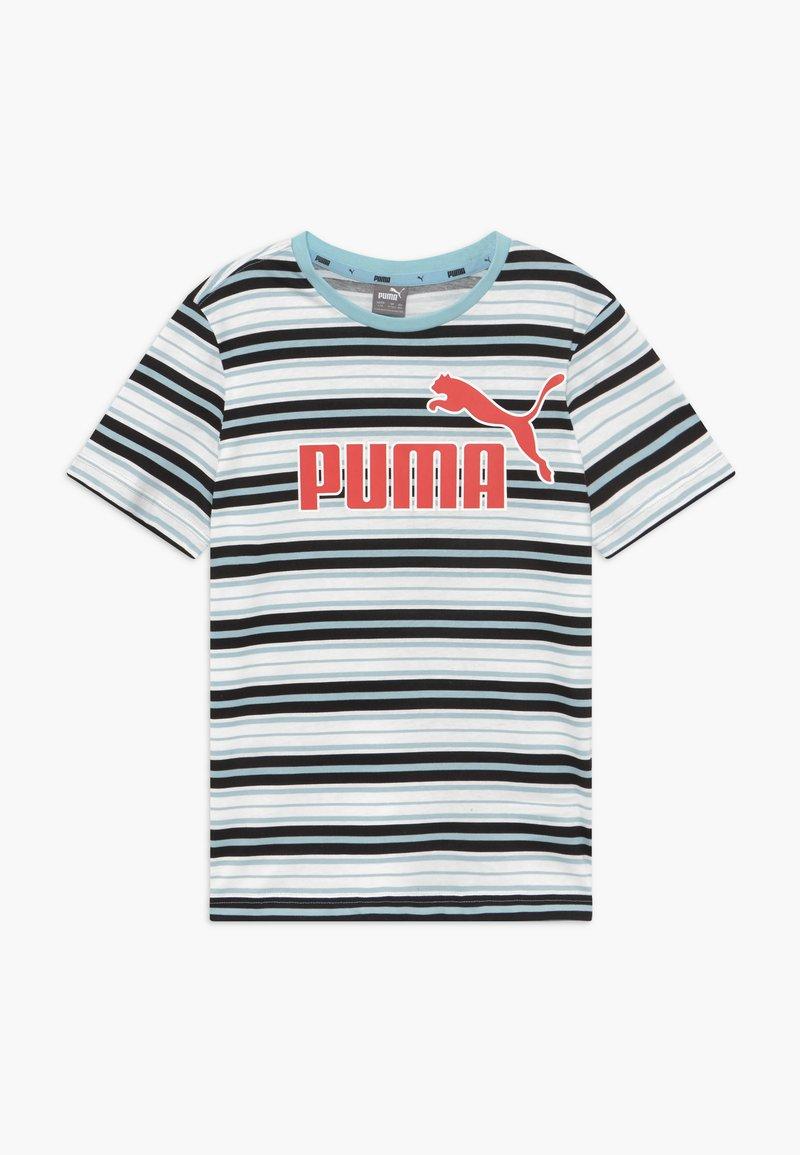 Puma - STRIPE LOGO TEE - T-shirt imprimé - aquamarine