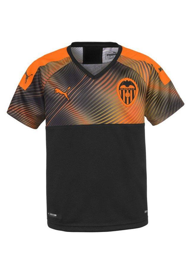 Print T-shirt - puma black-vibrant orange