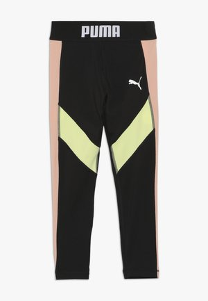 PUMA X ZALANDO LEGGINGS - Leggings - black/peach beige/yellow allert