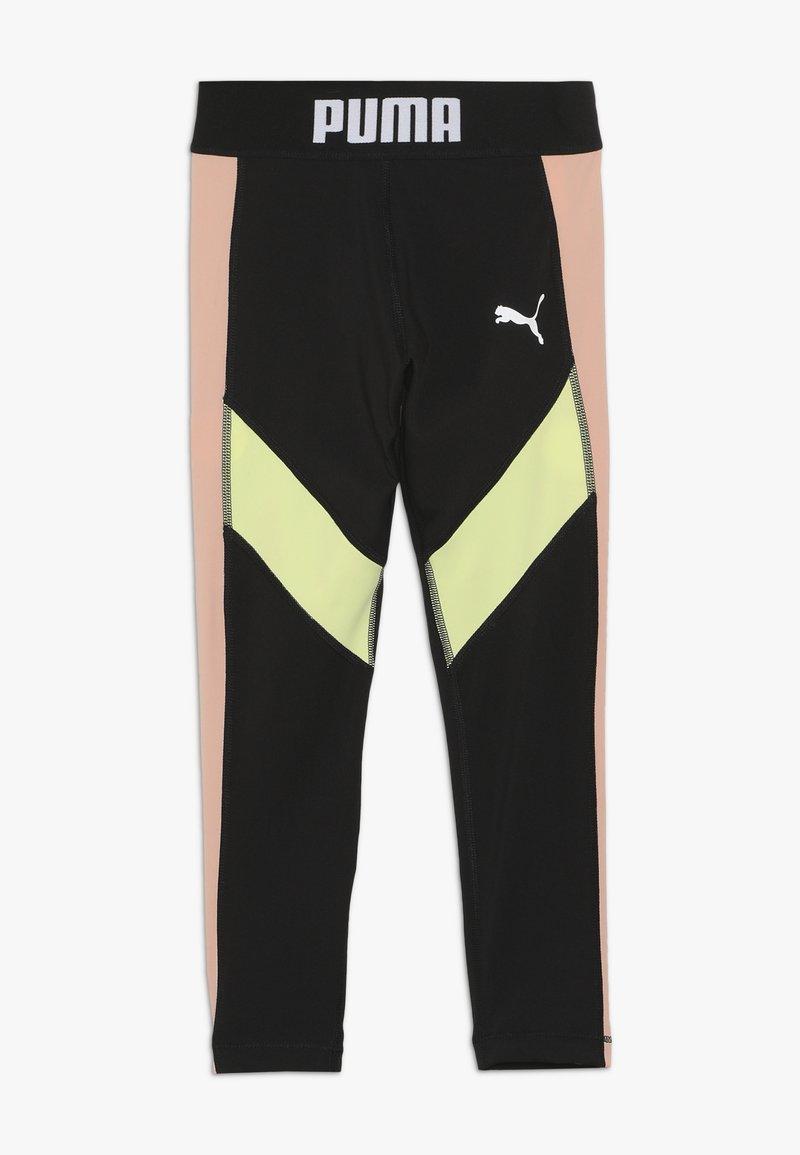 Puma - PUMA X ZALANDO LEGGINGS - Leggings - black/peach beige/yellow allert