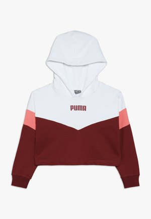 PUMA X ZALANDO COLOUR BLOCK HOODIE - Sweat à capuche - burnt russet/shell pink/white