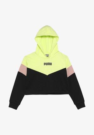 PUMA X ZALANDO COLOUR BLOCK HOODIE - Hoodie - black/peach beige/yellow allert