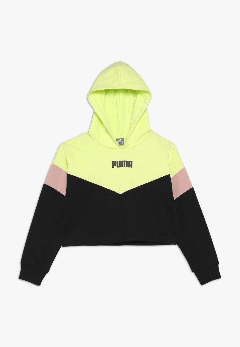 Puma - PUMA X ZALANDO COLOUR BLOCK HOODIE - Kapuzenpullover - black/peach beige/yellow allert