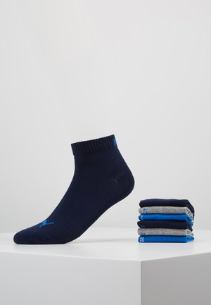 QUARTER 6 PACK - Sports socks - blue/grey melange