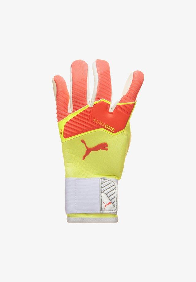 ONE GRIP 1 HYBRID PRO  - Goalkeeping gloves - energy peach / fizzy yellow / puma white