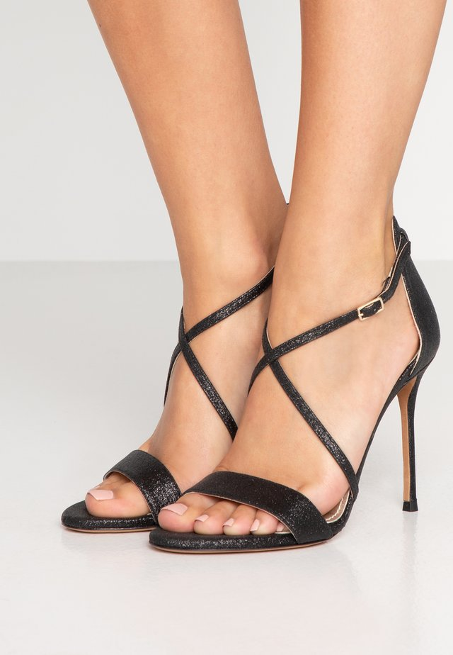 High heeled sandals - glitter black