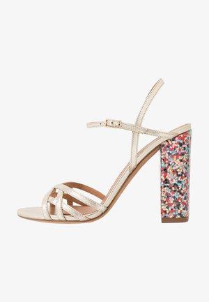 High heeled sandals - metal platin/fun