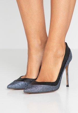 Høye hæler - glitter antracite/glitter black