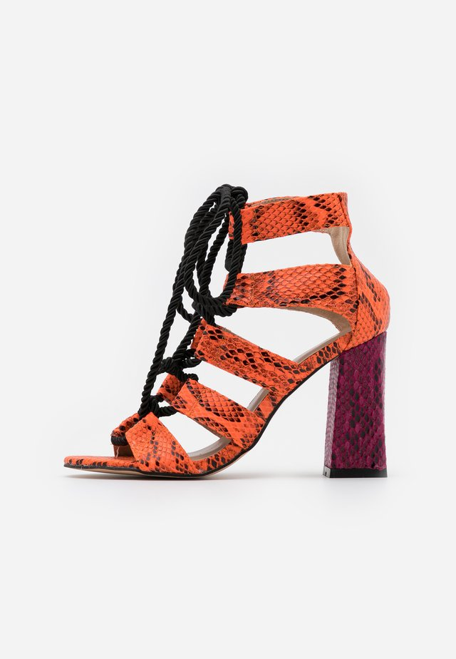 High Heel Sandalette - orange/purple