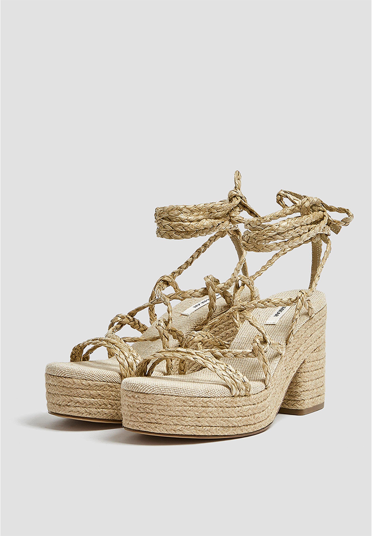 PULL&BEAR MIT SCHNÜRUNG - Højhælede sandaletter / Højhælede sandaler - sand FDH6l