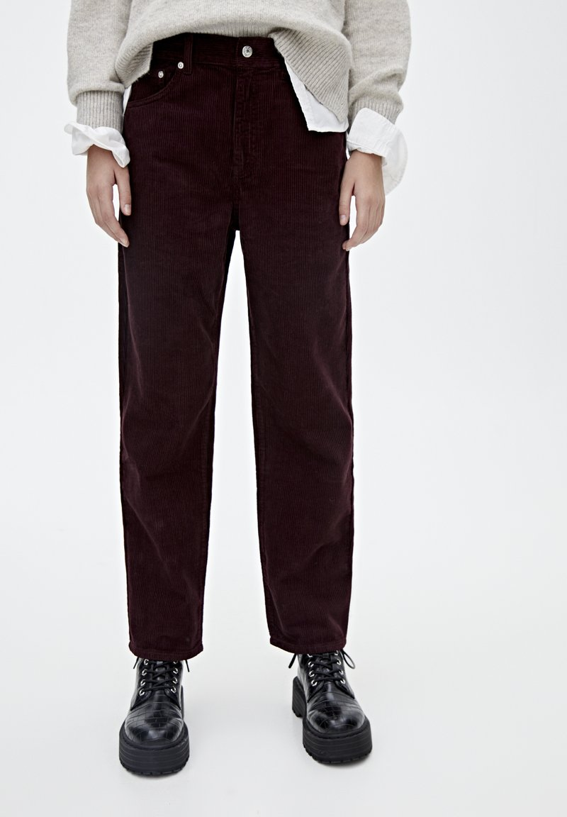 PULL&BEAR - IM MOM-FIT  - Broek - bordeaux