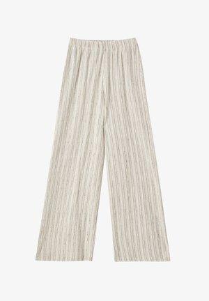 MIT STREIFENPRINT - Trousers - beige