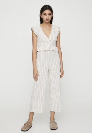 MIT STREIFENPRINT - Pantalon classique - beige