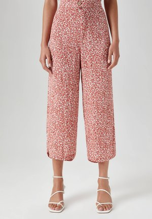 FLIESSENDE CULOTTE MIT PRINT - Trousers - light red