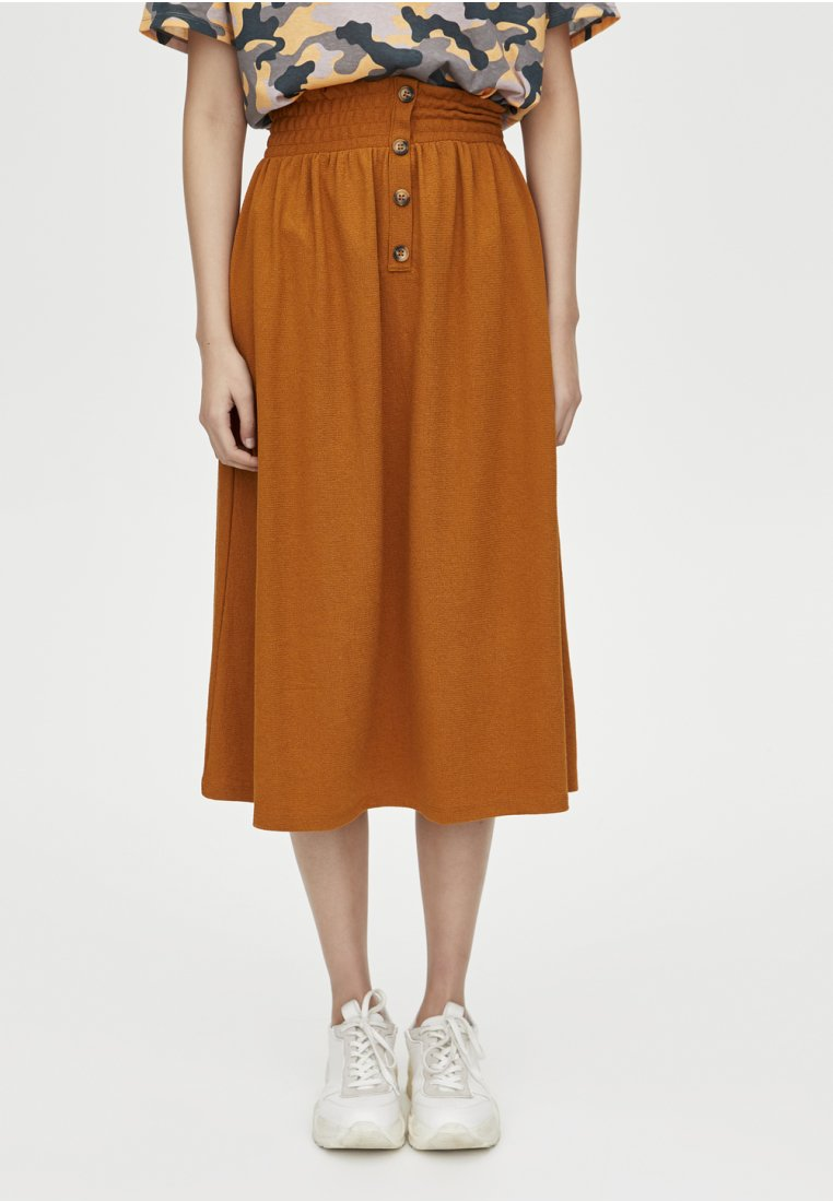 PULL&BEAR - A-snit nederdel/ A-formede nederdele - brown