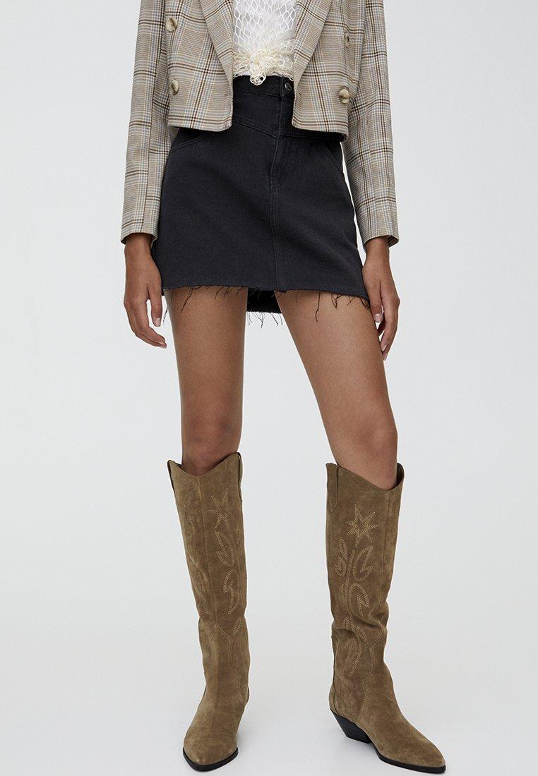 PULL&BEAR - MIT PASSE  - A-line skirt - black