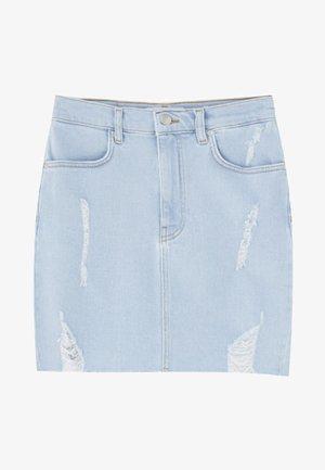 MINI-JEANSROCK MIT RISSEN 09395202 - Spódnica jeansowa - light blue