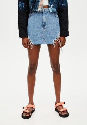 MIT GROSSEN RISSEN - Denimová sukně - blue