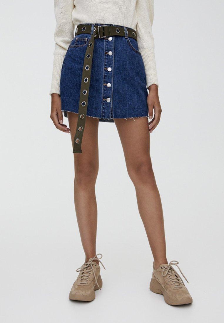 PULL&BEAR - MIT SICHTBAREN KNÖPFEN  - A-line skirt - dark blue