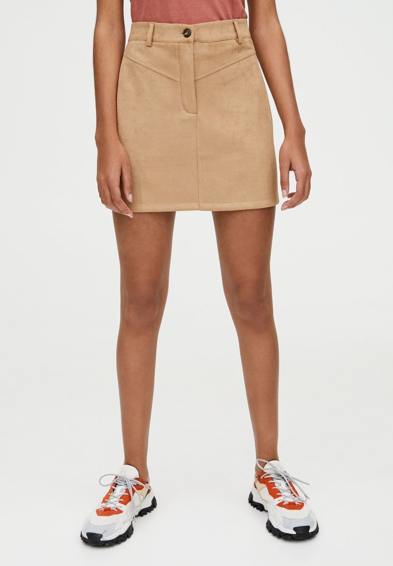 PULL&BEAR - MIT PASSE  - A-line skirt - brown