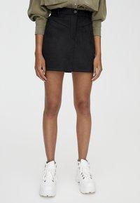 PULL&BEAR - MIT PASSE  - Áčková sukně - black - 0