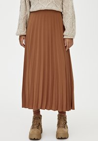 PULL&BEAR - PLISSIERTER - A-line skirt - brown - 0