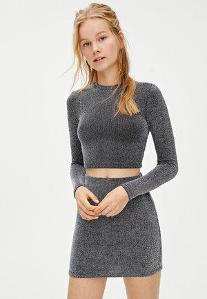 MIT GLITZER - Áčková sukně - silver