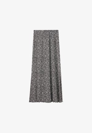 MIT SCHLITZEN  - A-line skirt - mottled black