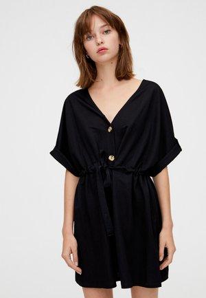 MIT KNÖPFEN UND SCHLEIFE - Robe d'été - black