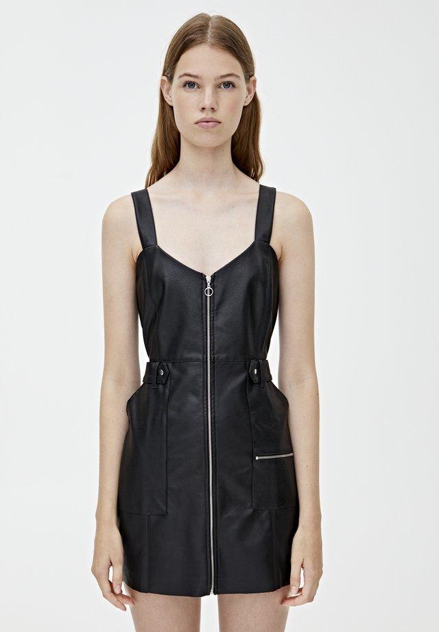 MIT REISSVERSCHLÜSSEN - Korte jurk - black