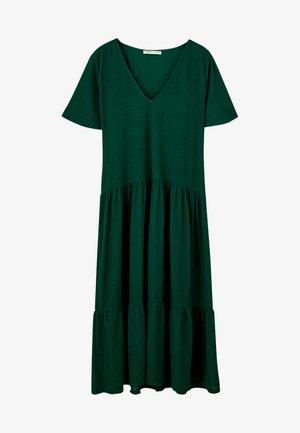 MIT VOLANTS - Gebreide jurk - dark green