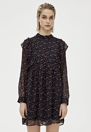 SCHWARZES PLISSÉE-MINIKLEID 05391405 - Sukienka letnia - black
