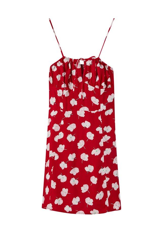 MIT PRINT UND RAFFUNG AN DER BRUSTPARTIE - Korte jurk - red