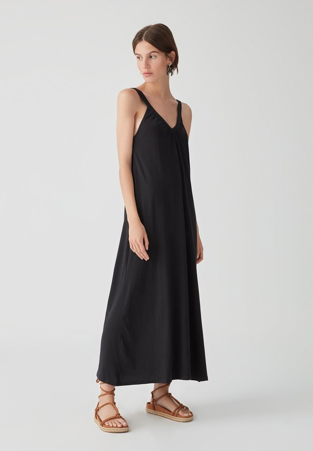 LANGES TRÄGERKLEID TIE-DYE - Maxi dress - black