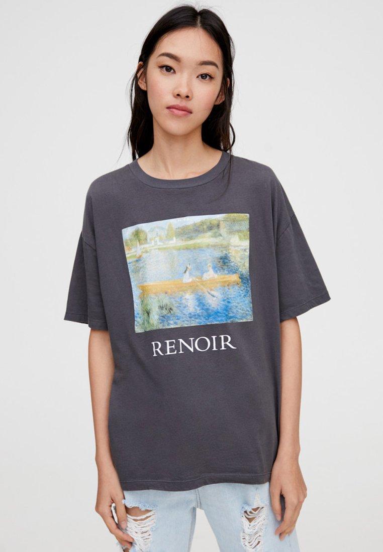PULL&BEAR - T-shirt z nadrukiem - grey