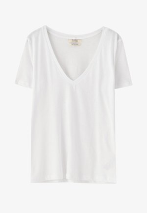 MIT V-AUSSCHNITT  - T-shirt imprimé - white