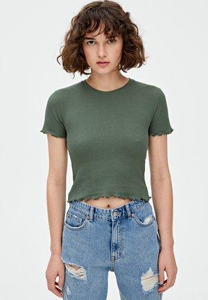 MIT MUSCHELSAUM - T-shirt imprimé - khaki