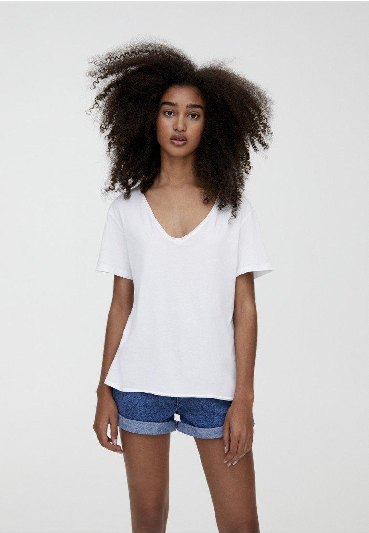 T white PULL basique amp;BEAR shirt pMUGzSVq