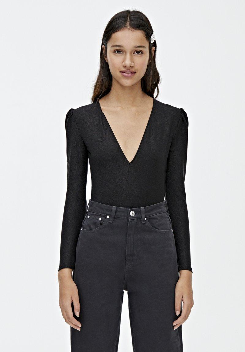 PULL&BEAR - Bluzka z długim rękawem - black