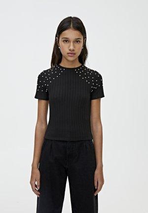 MIT PERLEN - T-shirt print - black