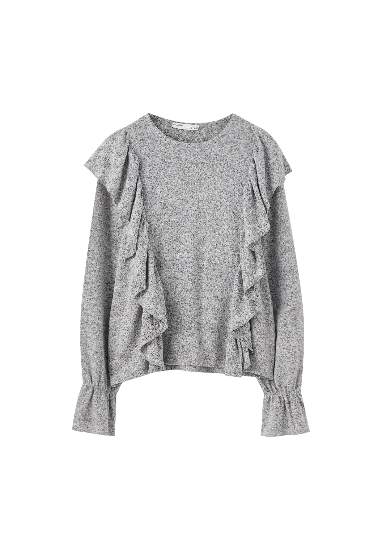 PULL&BEAR GRAUES SHIRT MIT VOLANTS 05234365 - Bluzka - grey