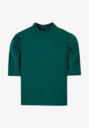 T-SHIRT MIT GERIPPTEM STEHKRAGEN UND BALLONÄRMELN 05234376 - Blouse - dark green