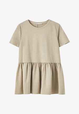 MIT VOLANTS AM SAUM  - Bluse - beige