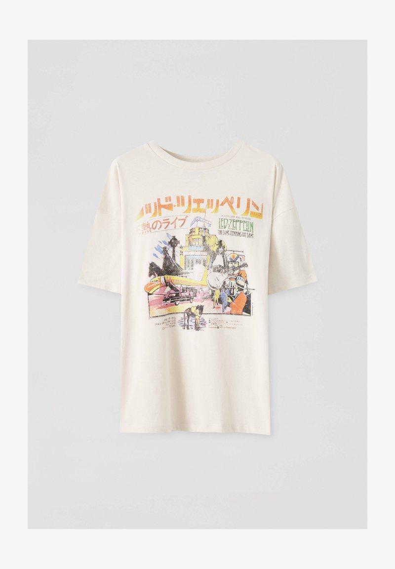 PULL&BEAR - LED ZEPPELIN - T-shirt z nadrukiem - beige