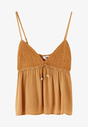 MIT SPAGHETTITRÄGERN UND HÄKELEI - Bluse - brown